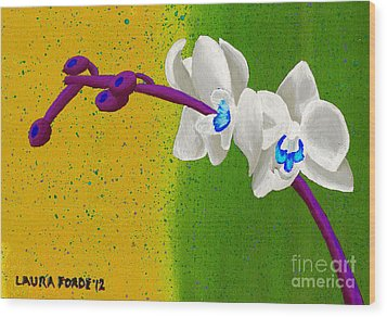 Wood Print featuring the painting White Orchids On Yellow And Green by Laura Forde