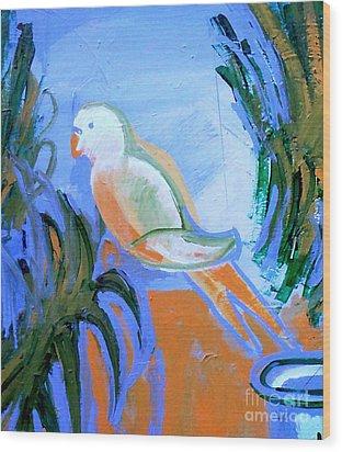 White Parakeet Wood Print by Genevieve Esson
