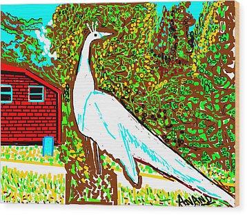 White Peacock Wood Print by Anand Swaroop Manchiraju