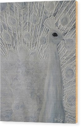 White Peacock Wood Print by Patricia Olson