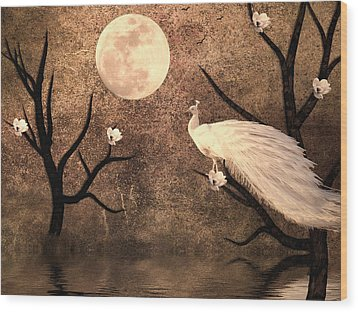White Peacock Wood Print by Sharon Lisa Clarke