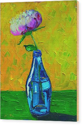 White Peony Into A Blue Bottle Wood Print by Ana Maria Edulescu