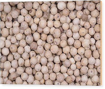White Peppercorn Background Wood Print by Jane Rix