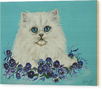 Wood Print featuring the painting White Persian In Pansy Patch Original Forsale by Bob and Nadine Johnston