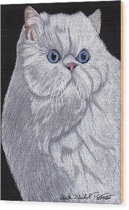 White Persian Vignette Wood Print by Anita Putman