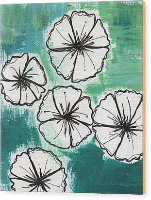 White Petunias- Floral Abstract Painting Wood Print by Linda Woods