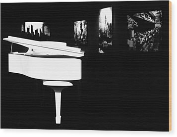 White Piano Wood Print by Benjamin Yeager