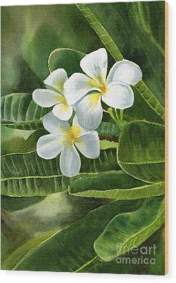 White Plumeria Flowers Wood Print by Sharon Freeman