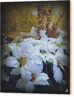 Wood Print featuring the photograph White Poinsettia by Michelle Frizzell-Thompson