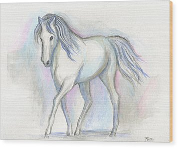 White Pony Wood Print by Roz Abellera Art