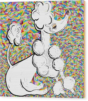 White Poodle Wood Print by Eloise Schneider
