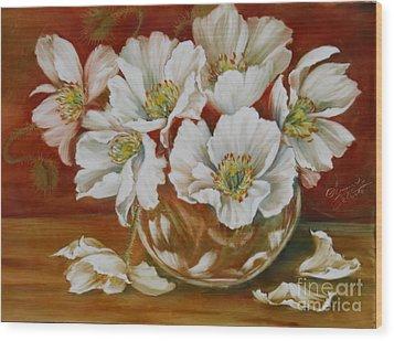 White Poppies Wood Print by Summer Celeste