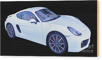 White Porsche Cayman S Wood Print