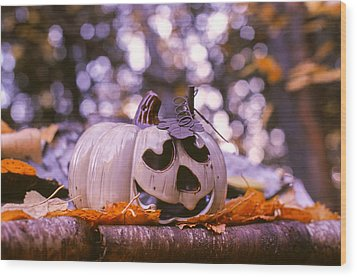 Wood Print featuring the photograph White Pumpkin by Aaron Aldrich