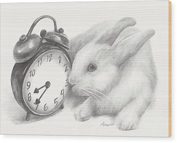 White Rabbit Still Life Wood Print by Meagan  Visser