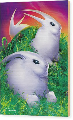 White Rabbits Wood Print by Robert Conway