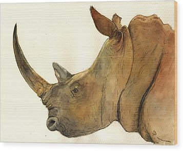 White Rhino Head Study Wood Print by Juan  Bosco