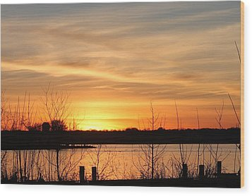 White Rock Lake Sunset Wood Print by Lorri Crossno