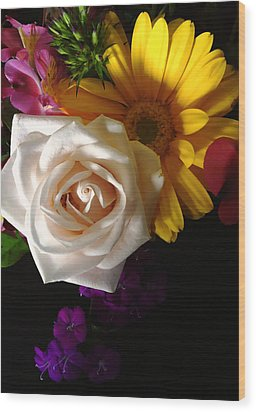 White Rose Wood Print by Meghan at FireBonnet Art