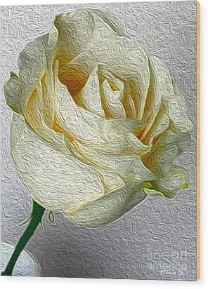 Wood Print featuring the photograph White Rose In Oil Effect by Nina Silver