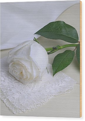 White Rose Wood Print by Krasimir Tolev