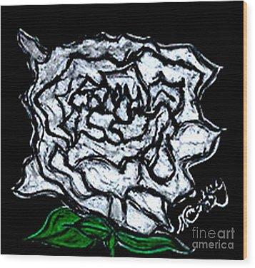 White Rose Wood Print by Neil Stuart Coffey