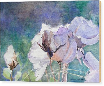 Wood Print featuring the painting White Roses In The Shade by Greta Corens