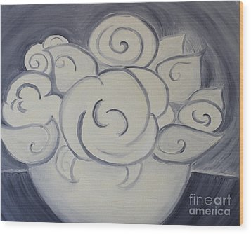 White Roses Wood Print by Teresa Hutto