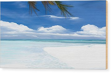 Wood Print featuring the digital art White Sand And Turquoise Sea by Anthony Fishburne