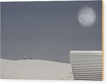 White Sands Moonrise Wood Print