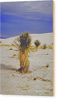 White Sands National Monument Cactus Wood Print by ImagesAsArt Photos And Graphics