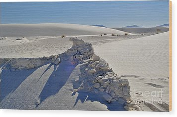 White Sands New Mexico Sand Rift Wood Print by Gregory Dyer