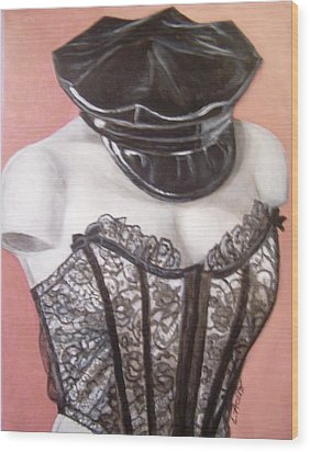Wood Print featuring the painting White Shoulders by Laura Aceto