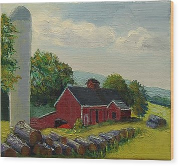 White Silo Winery Ct Wood Print
