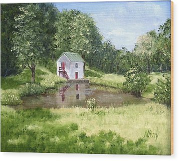 White Springhouse Wood Print