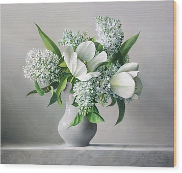 White  Sprintime  Flowers Wood Print by Pieter Wagemans