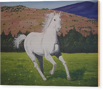 Wood Print featuring the painting White Stallion by Norm Starks
