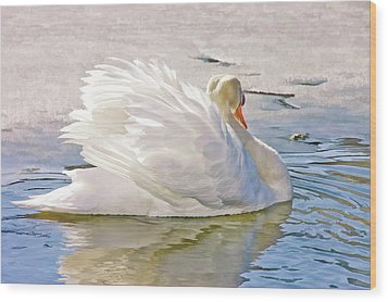 White Swan Wood Print by Elaine Manley