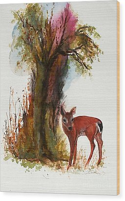 White Tail Wood Print by Sibby S