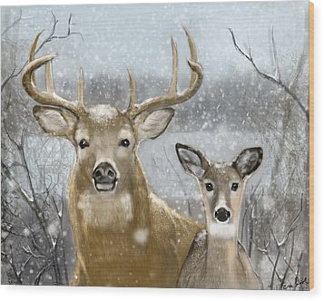 White Tail Winter Wood Print by Eric Smith