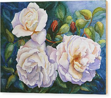 White Teas Rose Tree Wood Print