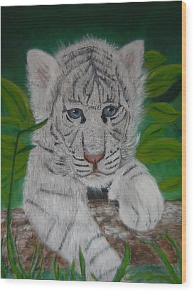 Wood Print featuring the painting White Tiger Cub by Mary M Collins