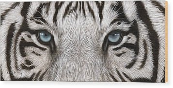 White Tiger Eyes Painting Wood Print by Rachel Stribbling