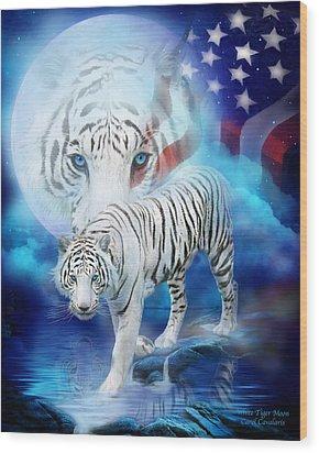 White Tiger Moon - Patriotic Wood Print by Carol Cavalaris