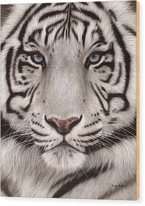 White Tiger Painting Wood Print by Rachel Stribbling