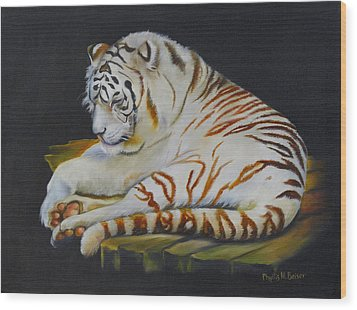 Wood Print featuring the painting White Tiger Sleeping by Phyllis Beiser