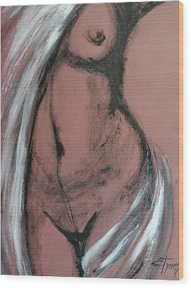 White Towel Wood Print by Carmen Tyrrell