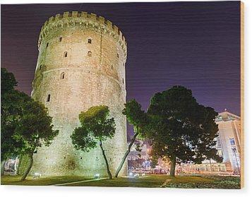 White Tower In Salonica Greece Wood Print by Sotiris Filippou