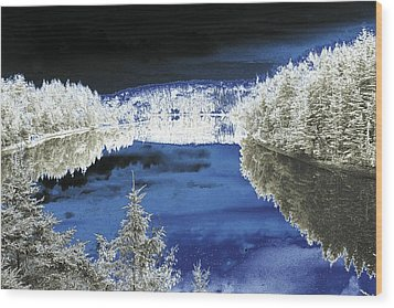White Trees And River Wood Print