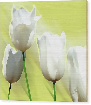 White Tulips Wood Print by Ben and Raisa Gertsberg